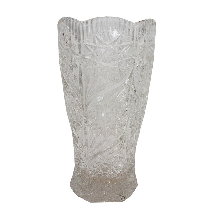 Vintage French Cut Glass Vase #5