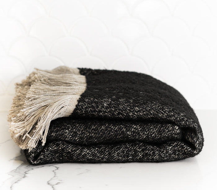 Winters Throw Blanket - Natural and Black