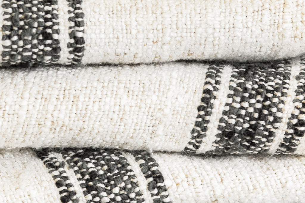 STRIPED BELGIAN LINEN THROW- NATURAL/CHARCOAL