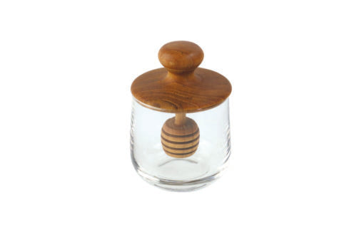Teak and Glass Honey Jar