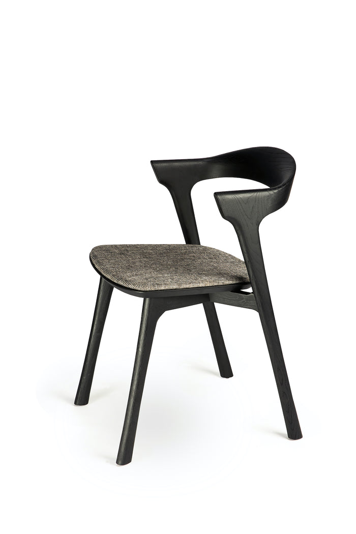 Oak Bok Black Dining Chair - Grey Upholstery | Ethnicraft