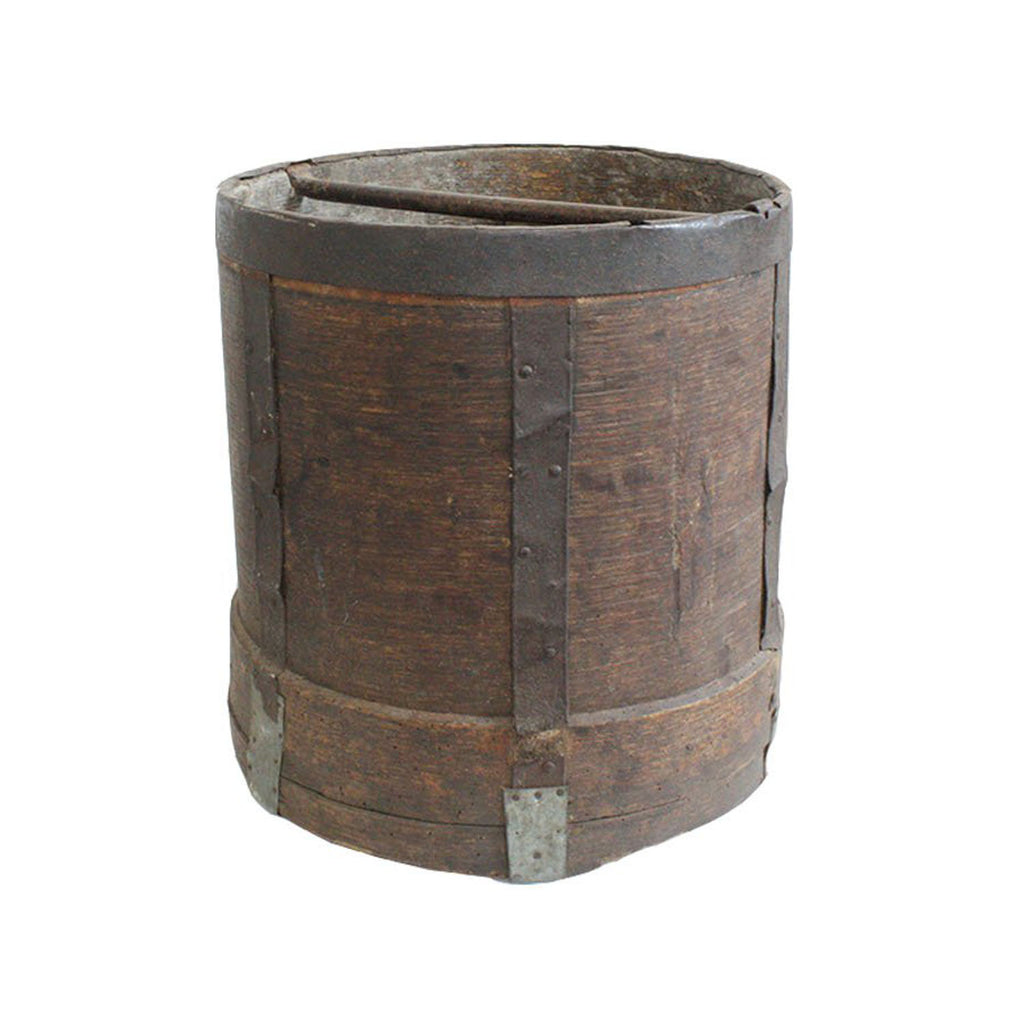 Antique Industrial Round Bucket With Metal Bands