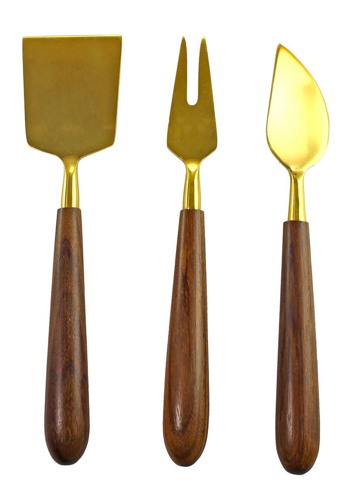 WOOD AND GOLD CHEESE SERVERS SET OF 3