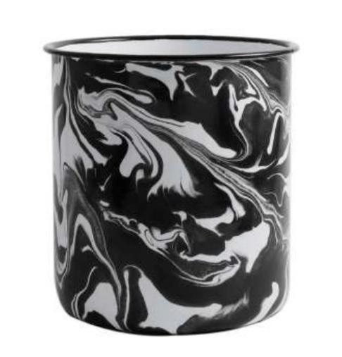 BLACK AND WHITE MARBLED CROCK