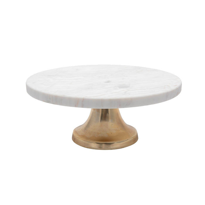 Marble Cake Plate with Brass Stand