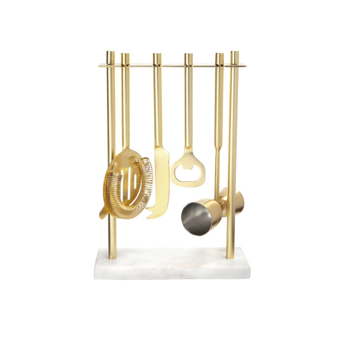 White Marble & Gold Bar Set