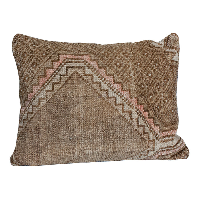 Vintage Textile Pillow - 15x20 Tan
