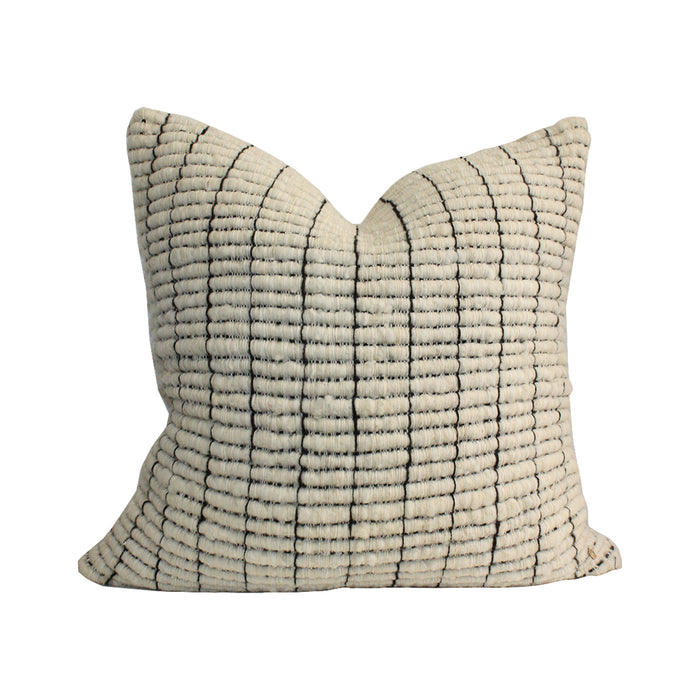 Makun Texturized Pillow - White/Line Black
