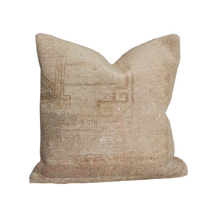 Vintage Textile Pillow - 20x20 Tan