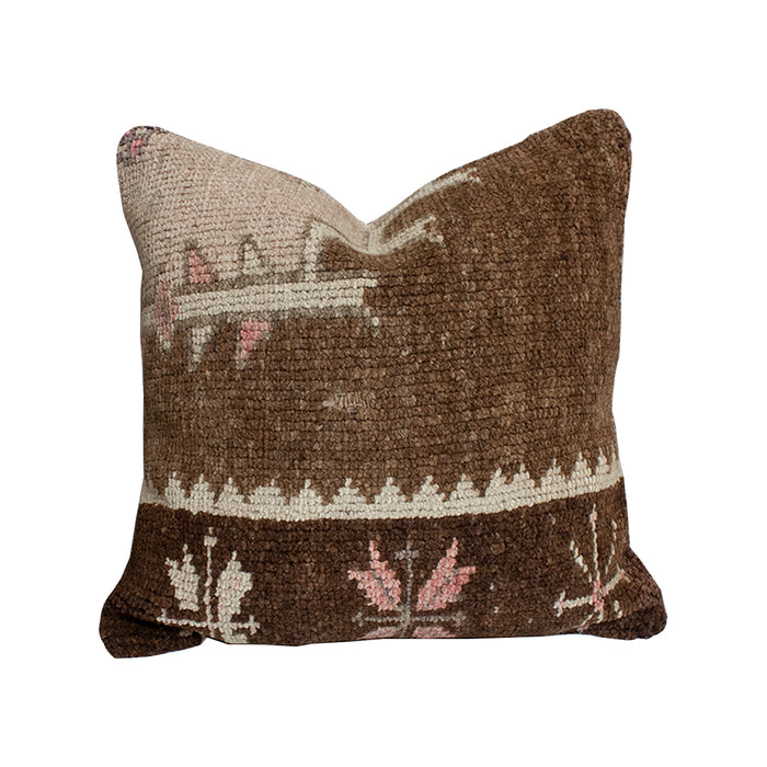 Vintage Textile Pillow - 19x19 Brown/Pink