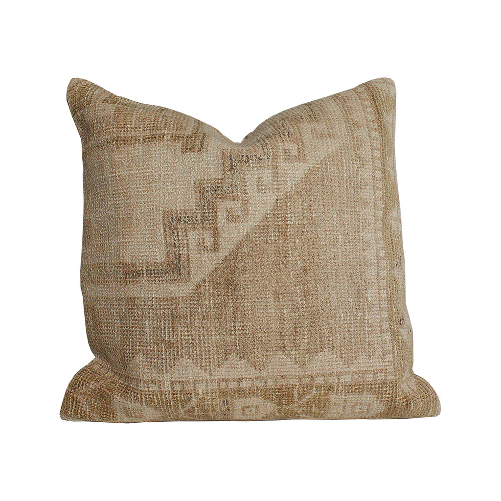 Vintage Textile Pillows - 20x20 Tan