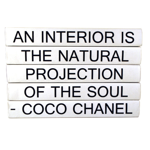 "Coco Chanel 5 Volume Quote Book Stack ""Interior"""