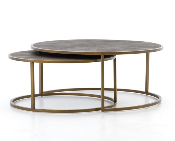 Shagreen Brass Nesting Coffee Tables
