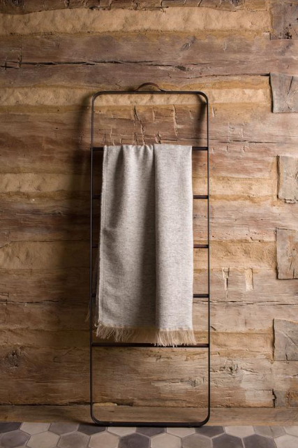 Alpaca/Linen Throw Blanket - Light Grey
