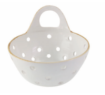 STONEWARE COLANDER WITH HANDLE