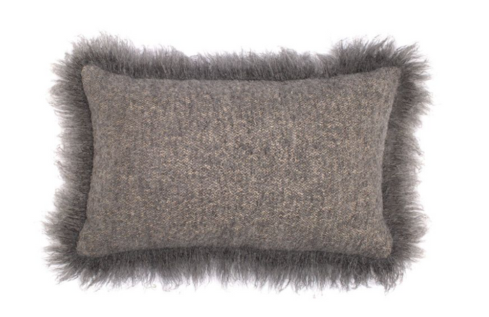 BELGIAN LINEN AND ALPACA PILLOW DARK GREY