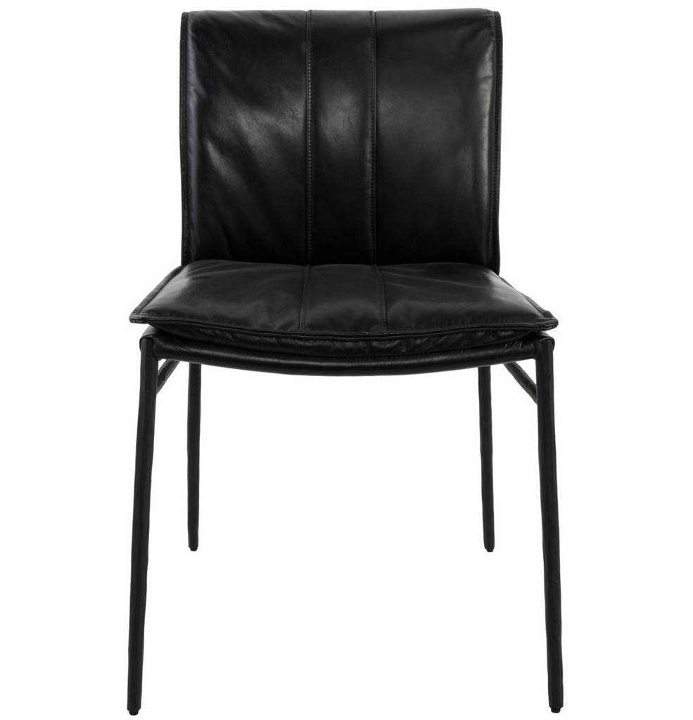Henri Black Leather Dining Chair
