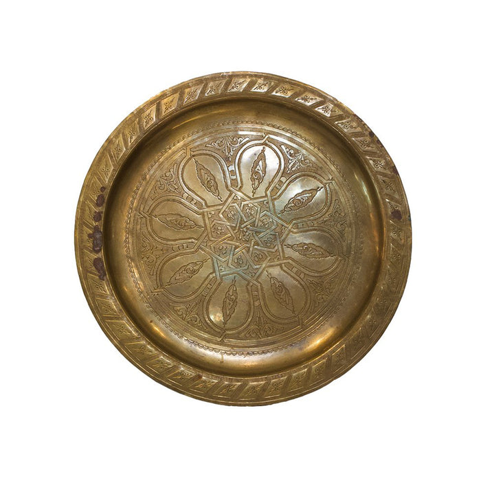 Vintage Brass Moroccan Tray Small