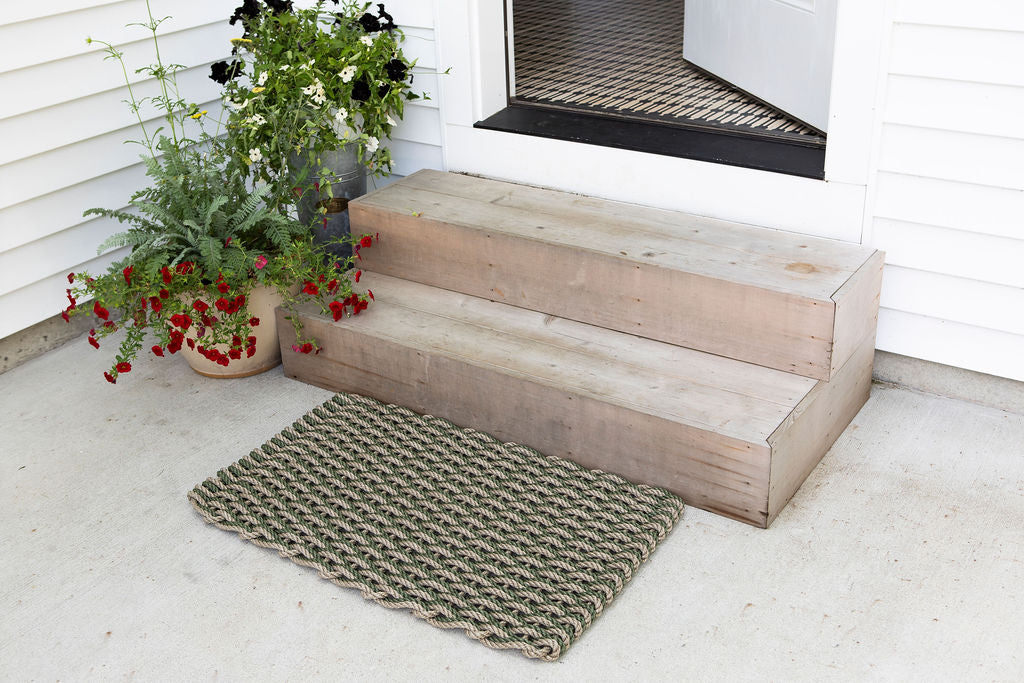 Tan and Green Rope Doormat -Large