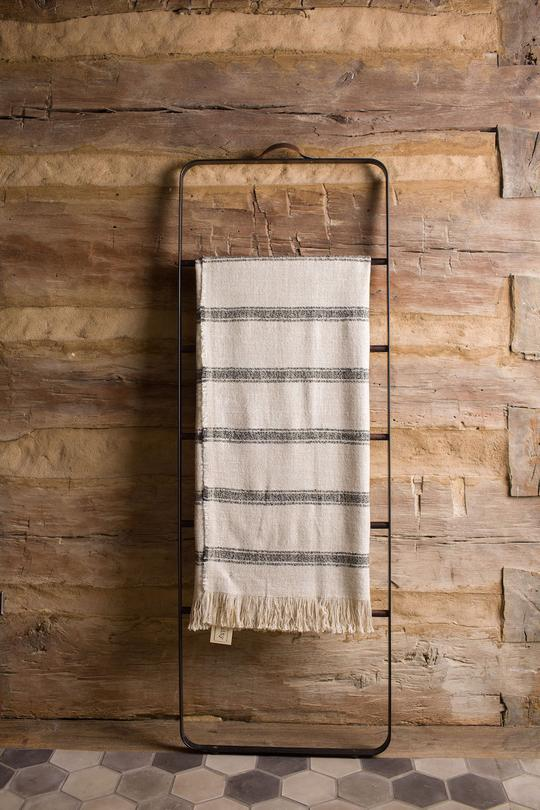 STRIPED BELGIAN LINEN THROW NATURAL/MINK