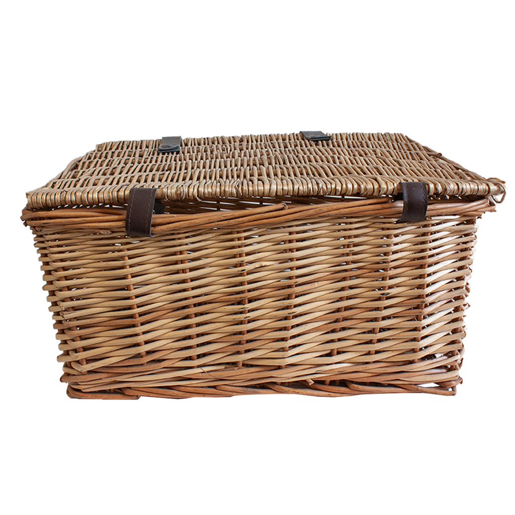 Antique French Basket with Brown Leather Straps