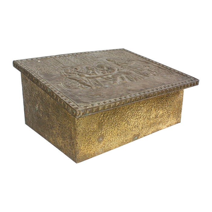 Antique Embossed Brass Box