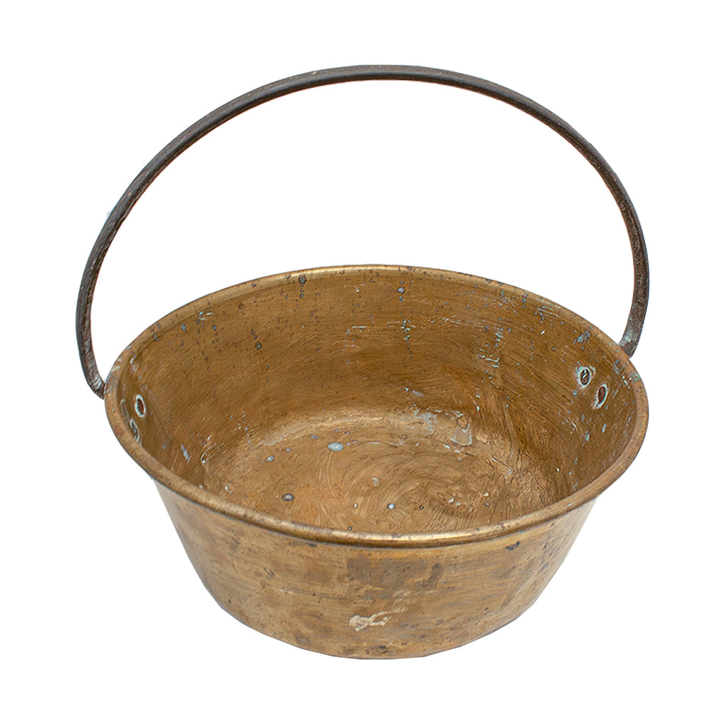 Antique Brass Bucket with Handle