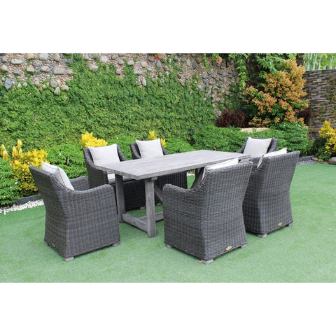 ROMA OUTDOOR WOODEN DINING TABLE WITH WICKER CHAIRS