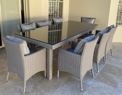 CAPRI 9 PIECE DINING SET HALF ROUND WICKER..