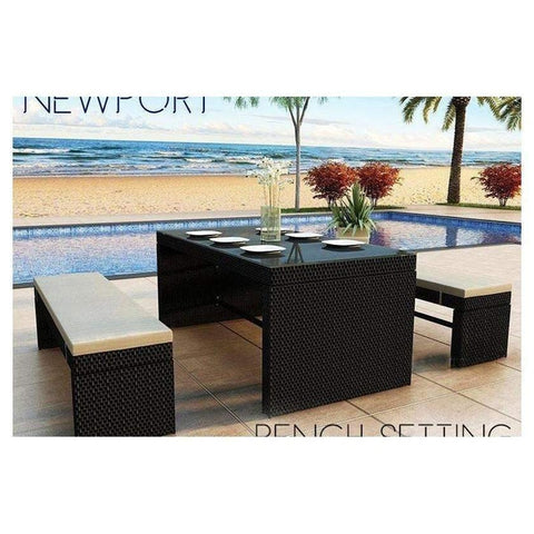NEWPORT - BENCH DINING SET - The Wicker Man - 1