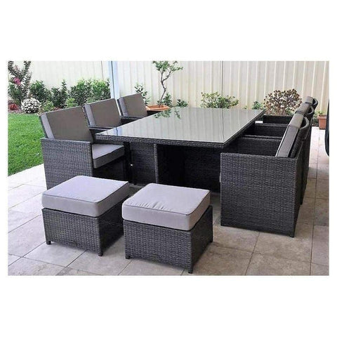 CUBE 6 COMPACT- 11 PIECE OUTDOOR DINING SETTING