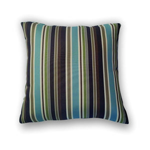 Cushion - Turquoise and brown striped