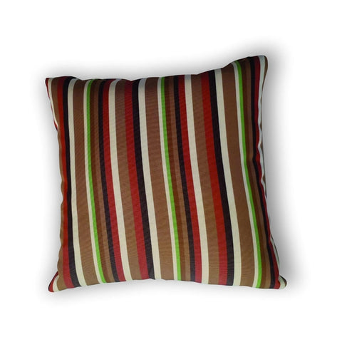 Cushion -  Red, green and brown striped