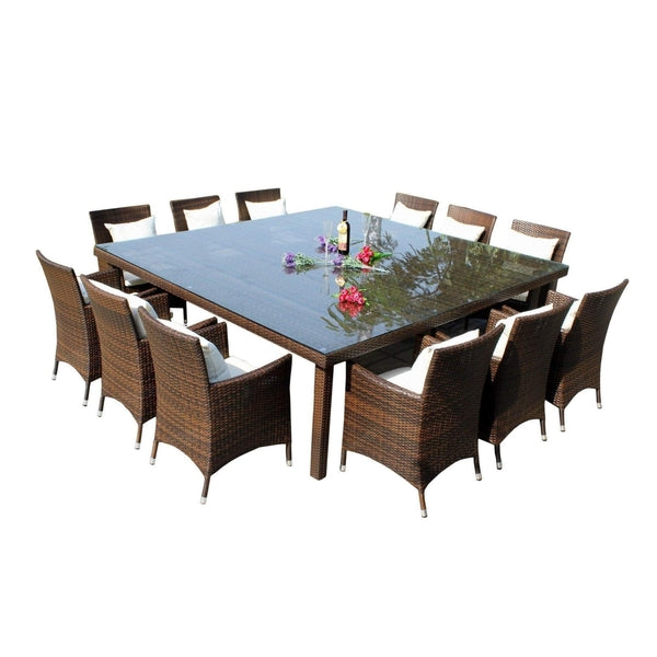 MARZIO 12  - 13 PIECE OUTDOOR DINING SETTING - The Wicker Man - 1
