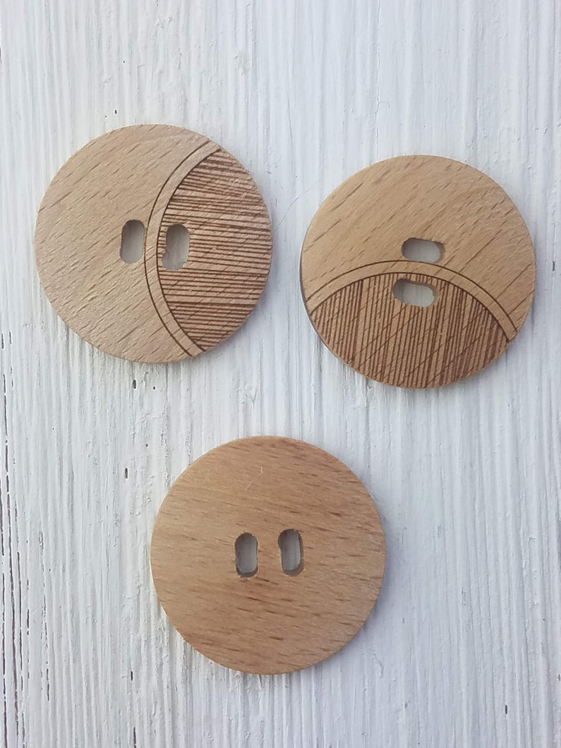 Wood round button