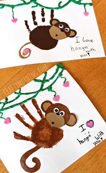 Paper Rose Illustrated Design Funny Daddy Your Little Monkey Fathers Day Card