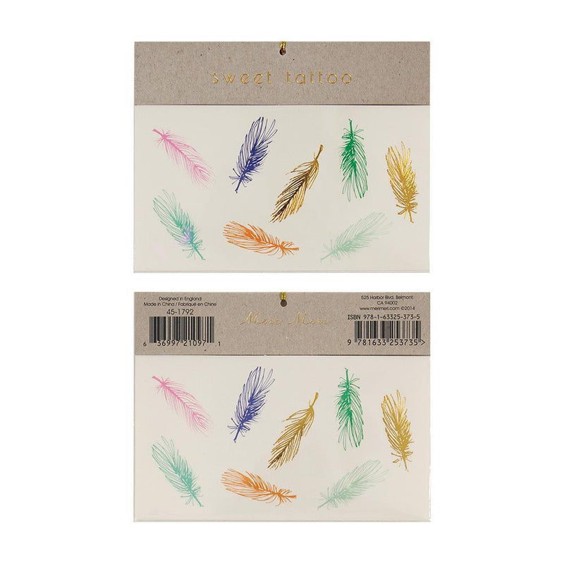 Meri Meri Colored Feather Tattoos