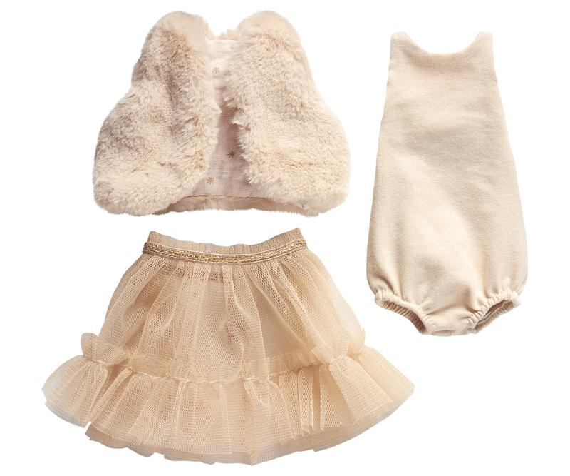 Maileg Best Friends Dress Up Set- Powder Ballerina Dress and Fur Vest