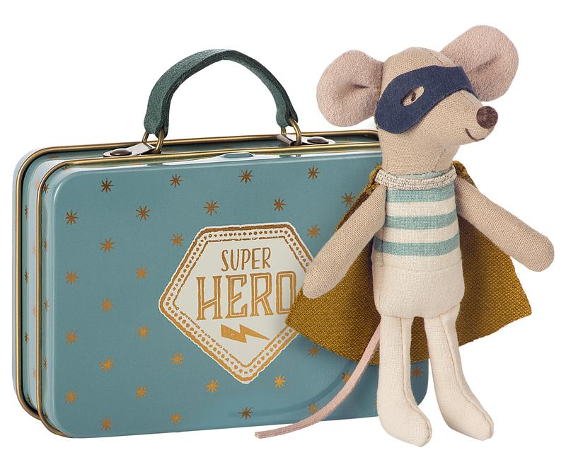 Superhero Little Brother Mouse in Suitcase
