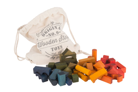 Wooden Story Rainbow Blocks in Bag (100 pieces)