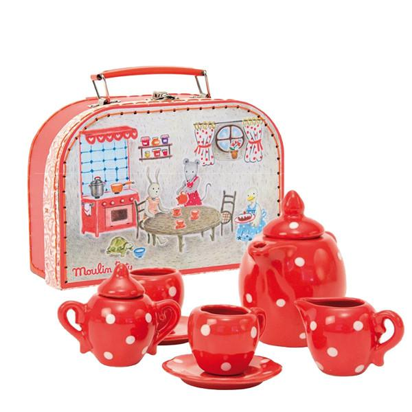 Moulin Roty Red Ceramic Tea Set in Suitcase