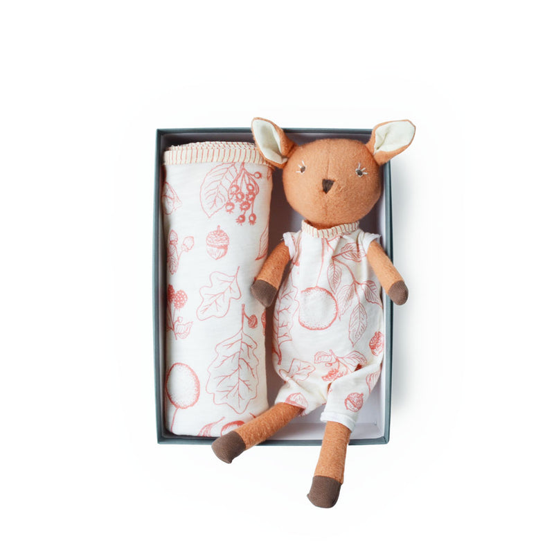 Hazel Village Phoebe Fawn and Berry Swaddle Bundle