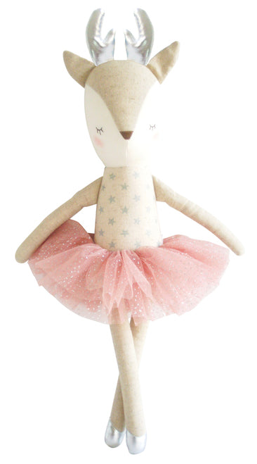 Alimrose Linen Reindeer in Silver Stars with Blush Tutu