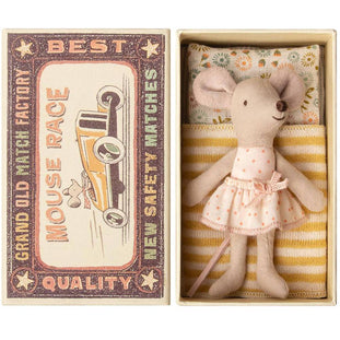 Maileg Little Sister Polka Dot Mouse in Matchbox