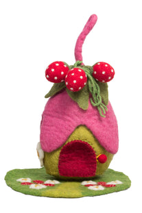 Papoose Felt Strawberry Fairy House and Mat
