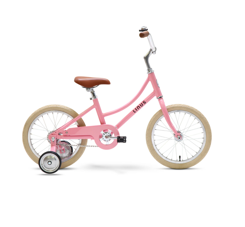 "Linus Lil Dutchi 16"" Bike with Training Wheels in School Eraser Pink"
