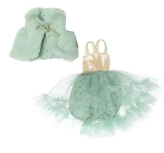 Best Friends Dress Up Set- Mint Ballerina Dress and Fur Vest