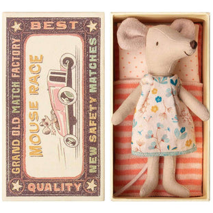Maileg Big Sister Mouse in Floral Dress and Matchbox