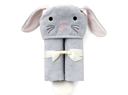 Gray Bunny Hooded Bath Wrap