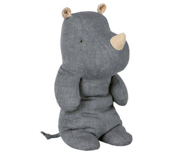 Maileg Little Rhino in Linen Blue